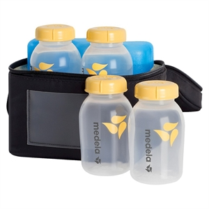 Medela Breastmilk Cooler Set with 4 Bottles & Lids, Cooler and Ice Pack