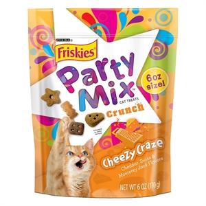 Purina Friskies Party Mix Crunch Cheezy Craze Cat Treats 6 oz. Pouch