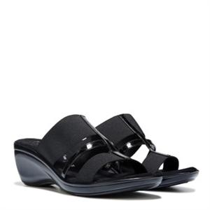 Italian Shoemakers Auburn Stretch Wedge Sandal Black