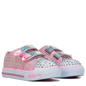 Skechers Shuffles Glitter Pop Sneaker Toddler Pink/Silver