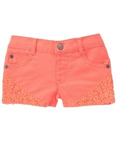 Neon Crochet Trim Shorts