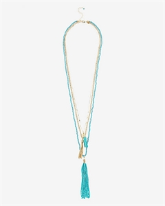 Nested Turquoise Bead And Tassel Necklace