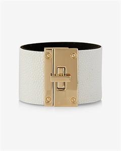 Faux Pebbled Leather Turnlock Bracelet