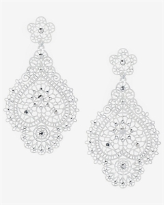 Rhinestone Filigree Drop Earrings