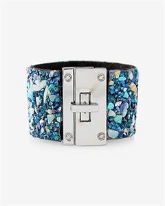 Gem And Stone Encrusted Turnlock Cuff Bracelet