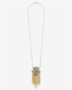 Stone Encrusted Fringe Pendant Necklace
