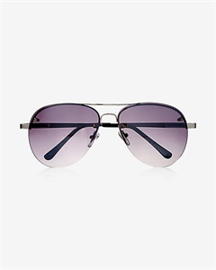Silver Mirrored Rimless Aviator Sunglasses