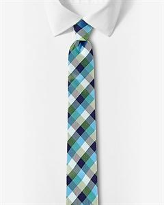 Multicolor Checked Narrow Silk Tie