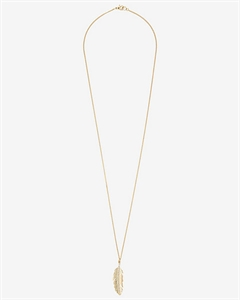 Pave Feather Pendant Necklace