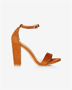 Faux Suede Thick Heeled Sandal