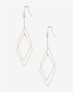 Textured Double Diamond Dangle Earrings