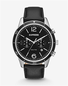 Black Leather Strap Dual-time Watch
