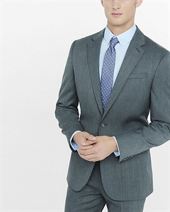 Classic Producer Gray Wool Blend Twill Suit Jacket