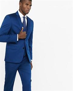 Slim Photographer Blue Cotton Sateen Suit Jacket