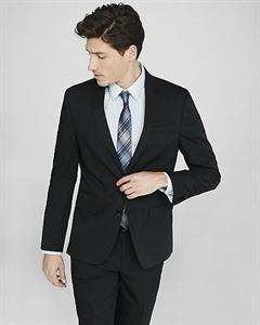 Slim Photographer Black Cotton Sateen Suit Jacket