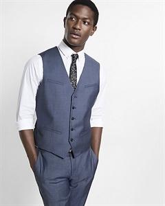 Blue Wool Twill Suit Vest