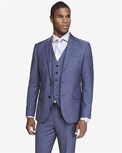 Slim Photographer Blue Wool Twill Suit Jacket