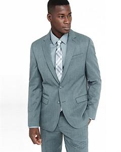 Slim Photographer Gray Wool Blend Twill Suit Jacket