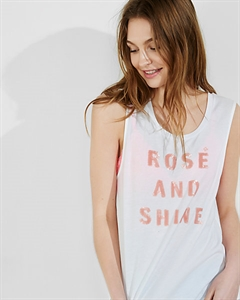 Express One Eleven Sequin Rose Graphic Tank
