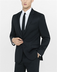 Classic Producer Black Wool Blend Twill Suit Jacket
