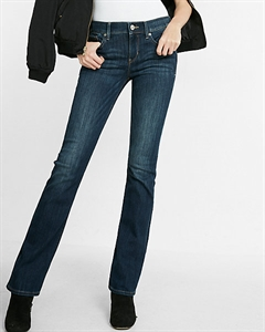 Dark Mid Rise Barely Boot Jeans