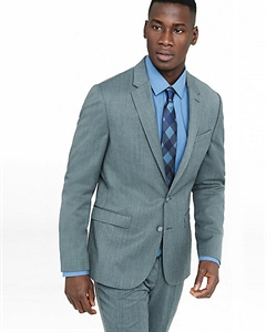 Extra Slim Innovator Gray Wool Blend Twill Suit Jacket