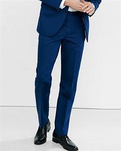 Slim Photographer Blue Cotton Sateen Suit Pant