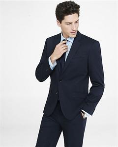 Slim Photographer Navy Cotton Sateen Suit Jacket