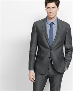 Slim Photographer Oxford Cloth Gray Suit Jacket