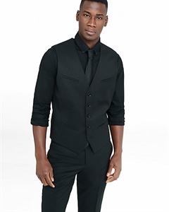 Black Wool Blend Suit Vest