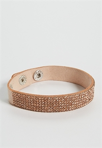 Faux Suede Bracelet With Rhinestones
