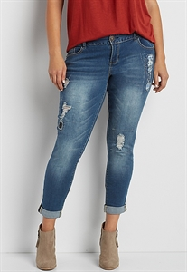 Denimflex™ Plus Size Skinny Boyfriend Jeans With Plaid Lined Destruction