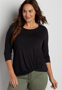 The 24/7 Plus Size Tee With Knot Hem And 3/4 Length Sleeves