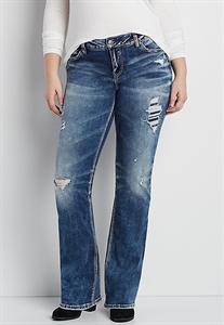 Silver Jeans Co.® Plus Size Aiko Marbled Medium Wash Bootcut Jeans With Destruction