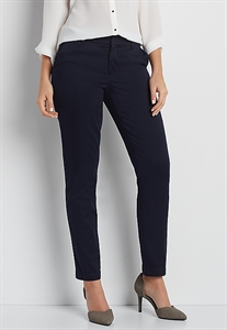 The Smart Sateen Skinny Ankle Pant In Navy Blue