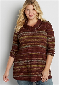Plus Size Wide Ribbed Cowl Neck Pullover With Stripes And Peek-a-boo Back