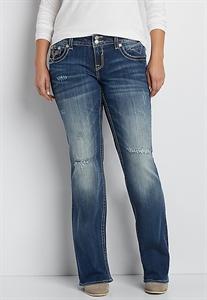 Vigoss® Plus Size Bootcut Jeans With Destruction In Dark Wash
