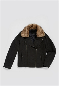 Plus Size Moto Jacket With Faux Fur Collar