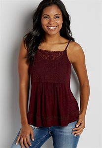Tank With Embroidered Mesh Overlay