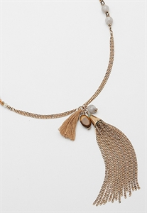 Tassel Necklace With Agate And Tiger's Eye