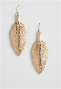 Goldtone Metal Feather Earrings With Rhinestones