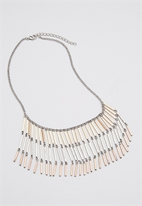 Mixed Metal Bar Fringe Necklace