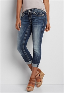 Vigoss® Skinny Crop Jeans With Destroyed Back Pockets