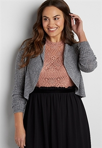 Plus Size Cropped Cardigan With Metallic Stitching