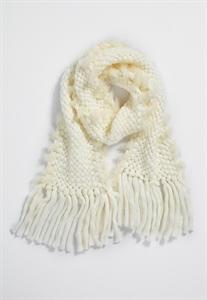 Chunky Knit Scarf With Faux Fur Trim