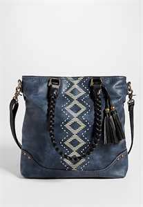 Satchel With Ethnic Print Front And Braided Straps
