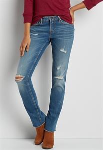Vigoss® Straight Jeans With Frayed Bottom Hem