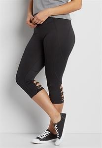 Plus Size Capri Legging With Strappy Back Bottom Hem