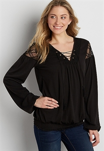 Smocked Bottom Peasant Top With Embroidered Mesh