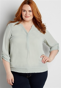 The Perfect Plus Size Blouse With Smocked Bottom Hem
